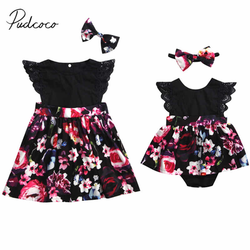 2018 Brand New Newborn Baby Girls Sister Family Matching Sets Lace Ruffled Sleeveless  Floral Print Romper/Dress +Headband 2PCS