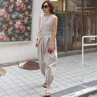2019 Fashion New Spring Women Sleeveless Jumpsuit Casual Oversize Beige Long Rompers