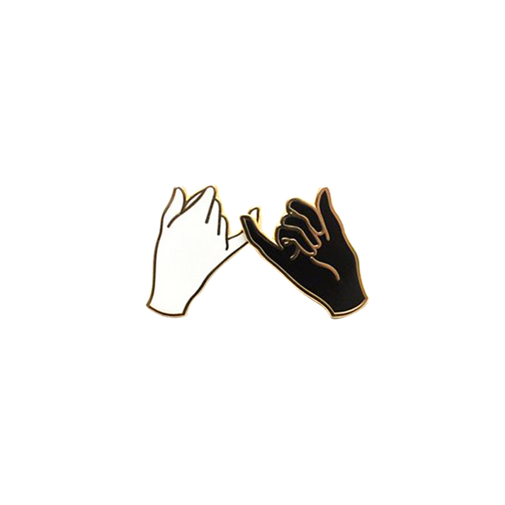 1 Pair Fashion Brooch Pin Black And White Alloy Hand Pattern Brooch Lapel Pin For Jean Men Backpack Women Always Buy Good