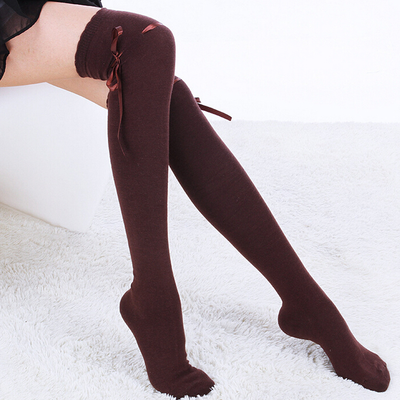 1ee24d8fc TOIVOTUKSIA Knee Socks Sexy Thigh High Socks with Ribbon Bow Tie Female  Long Socks for Women Full Cotton Knee High Socks