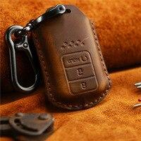 Housse de clé de voiture en cuir véritable 2/3/4 bouton pour Honda Accord CIVIC Vezel pilote CRV HRV XR-V inspirer la coque de clé à distance intelligente