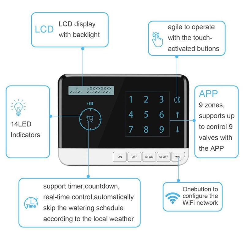 Kontroler 9 strefy WiFi zegar nawadniania sterownik systemu elektroniczny ogród Yard automatyczne narzędzie do podlewania w Zestawy do podlewania od Dom i ogród na  Grupa 1