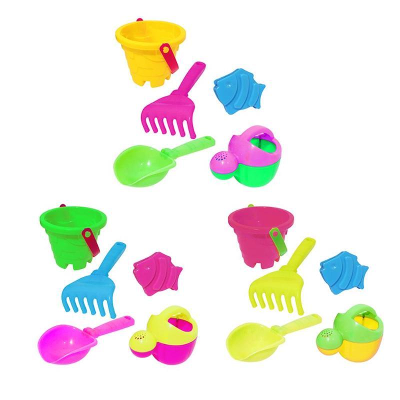 5pcs Kids Beach Sand Water Play Toys Bucket Spade Shovel Rake Set Gifts