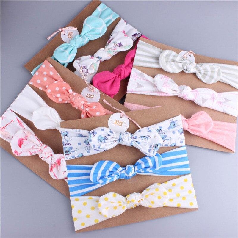 Elastic Hairband Kids Headband Flower Polka Dots Stripe Flamingo Baby Hair Accessories Baby Girl Headwear 3pcs