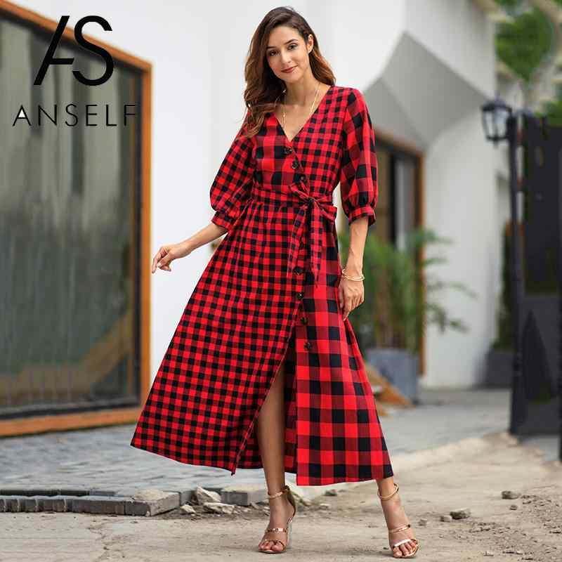 31980665992 Detail Feedback Questions about Vintage Checkered Dress 2018 Autumn Winter  Women Plaid Print Long Dress V Neck Half Sleeve Bandage Casual Streetwear  ...