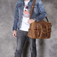 Multifunction Crazy horse Genuine Leather Men Briefcase Laptop business Bag tote Vintage Male Big tote Bag Travel Duffel