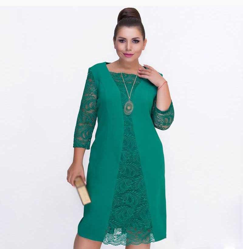 Plus Sizes Spring Women Lace Dress Female  Large Size Bodycon Vintage Green Patchwork