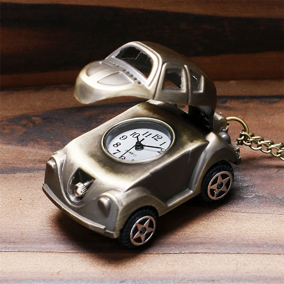Lovely Cute Car Shape Quartz Pocket Watch Retro Bronze Necklace Watch Gifts For Kids Boys Best Birthday Gifts Reloj