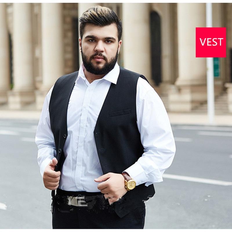 Мужской костюм из 3 предметов Свадебный костюм с брюками жениха размера плюс 5XL 6XL 7XL 8XL 9XL Terno черный синий формальный деловой комплект одежды - 5