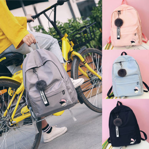 Womens Girls Canvas School Backpack Shoulder Bag Travel Rucksack Satchel Bookbag Ladies Girls School Bags Female