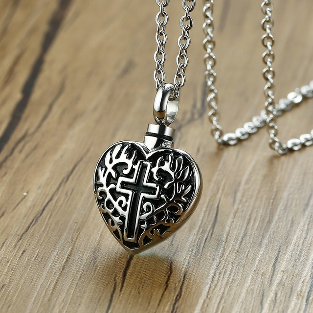 Heart & Cross Memorial Cremation Keepsake Stainless Steel Pendant Necklace