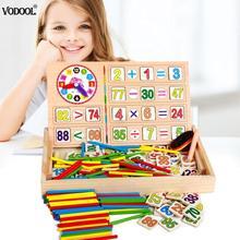 """Дети Математика обучения коробка набор для детей деревянный номер счета математическая игрушка Детские стикер """"Математика"""" вычисления игры для обучения, сборный блок"""