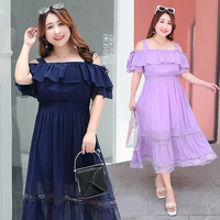 Korean A Line long maxi dress plus size hollow out lace elegant dress big size women summer dress off shoulder beach vestidos