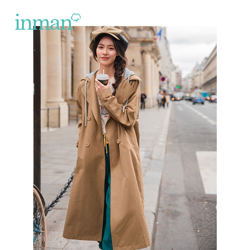 INMAN 2019 Spring New Arrival Hooded Warm Retro Casual All Matched Fake Two Pieces Loose Long