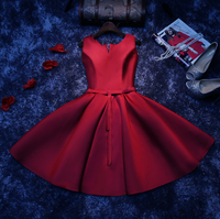 2019 Burgundy party dress Maid of Honer Scoop Neck Ribbon Bow Draped Lanxirui Dresses for women wedding Party Dress