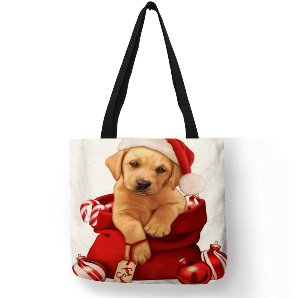 Fashion Women Girls Tote Bag Christmas Animal Dogs Cats  Pattern Handbags Eco Linen Reusable Shopping Bags Shoulder Bags Gift tote bag