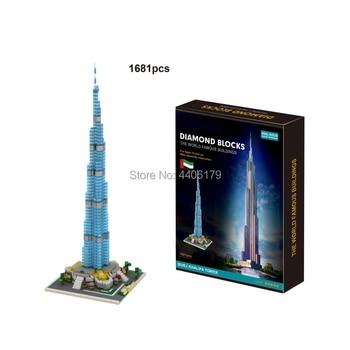 hot lepining creators city Street view Tower United Arab Emirates Burj Khalifa micro diamond building blocks model toys for gift trumpet 01532 1 35 united arab emirates bmp 3 infantry chariot assembly model building kits toy
