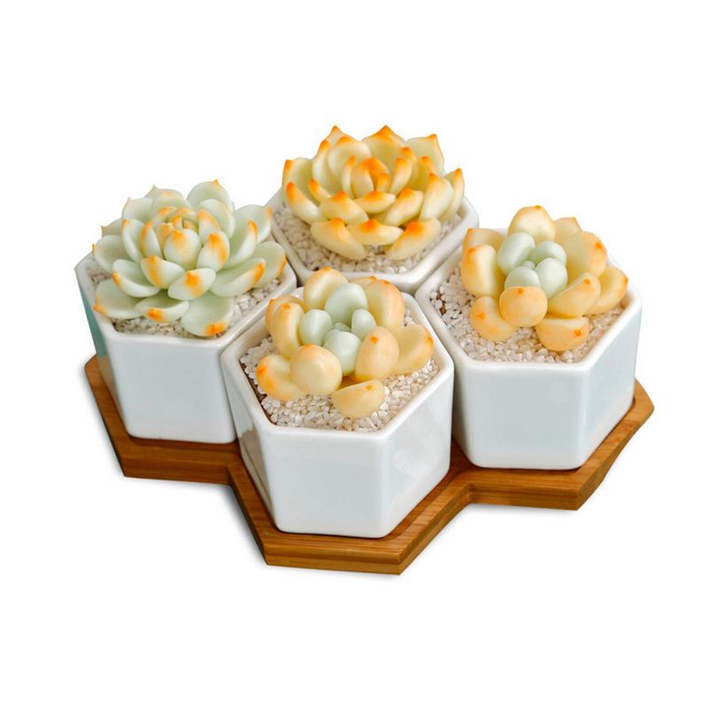 Ceramic Small Six sided Set Of Four With Succulent Pots And Bamboo Trays Potted Flower Pots Trays Home Gardening Supplies
