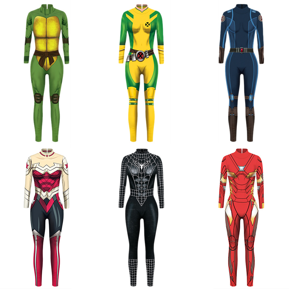 VIP FASHION 2020 New 3D Black Spider Costume Ninja Turtles Cosplay Women Marvel Movie Wonder Woman Jumpsuit Black Widow Costumes