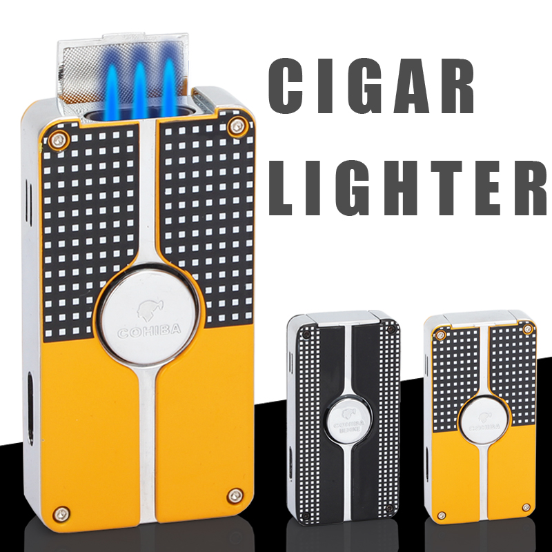 COHIBA Cigar Gas Lighter 3 Torch Windproof Gas Refillable 3 Jet Flame Torch Cigar Lighters