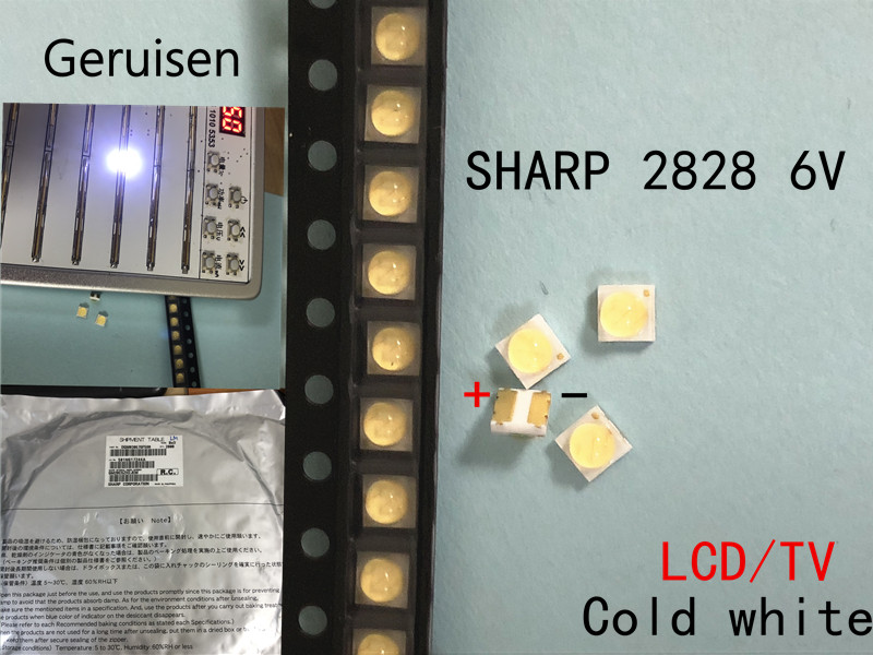 Electronic Components & Supplies 50pcs For Sharp Led Backlight High Power Led 0.8w 2828 6v Cool White 43lm Gm2cc3zh2eem Tv Application Moderate Price