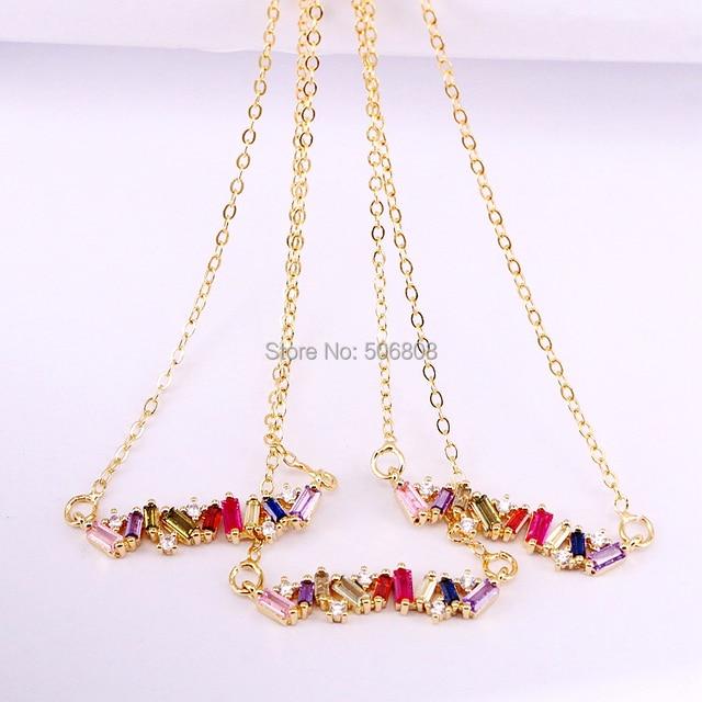 6PCS, Colorful CZ Thin Bar Pendnat Women Jewelry Necklace