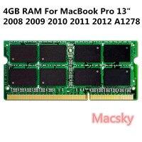 Original Laptop Memory RAM DDR3 4G 1333MHz RAM 2Rx8 PC3 10600S for MacBook Pro 13 A1278 2008 2009 2010 2011 2012 A1418 A1419