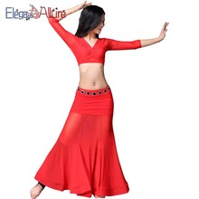 E&A Women Belly Dance Costume Beginner Practice Top and Skirt Set Lady Bellydance Outfits Fashion Dance Suits Red Dress Clothes все цены