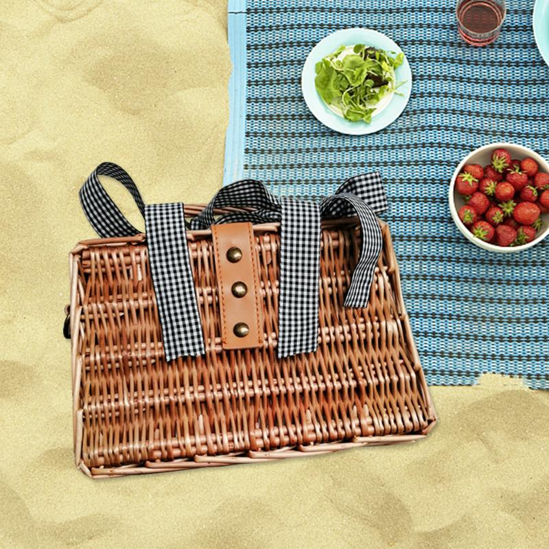 Ins Style Straw Braided Bag Summer Hand Woven Small Square Bag Portable Rattan Women's Crossbody Bag