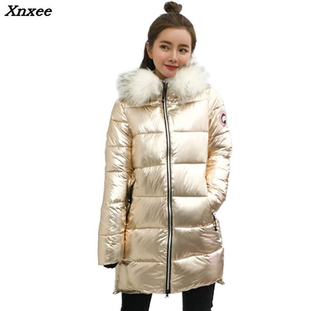 Fur Collar Coat 2018 Women's mid-Length down Jacket Warm Jacket Coat for Women High Quality Gold and silver hooded jacket Xnxee