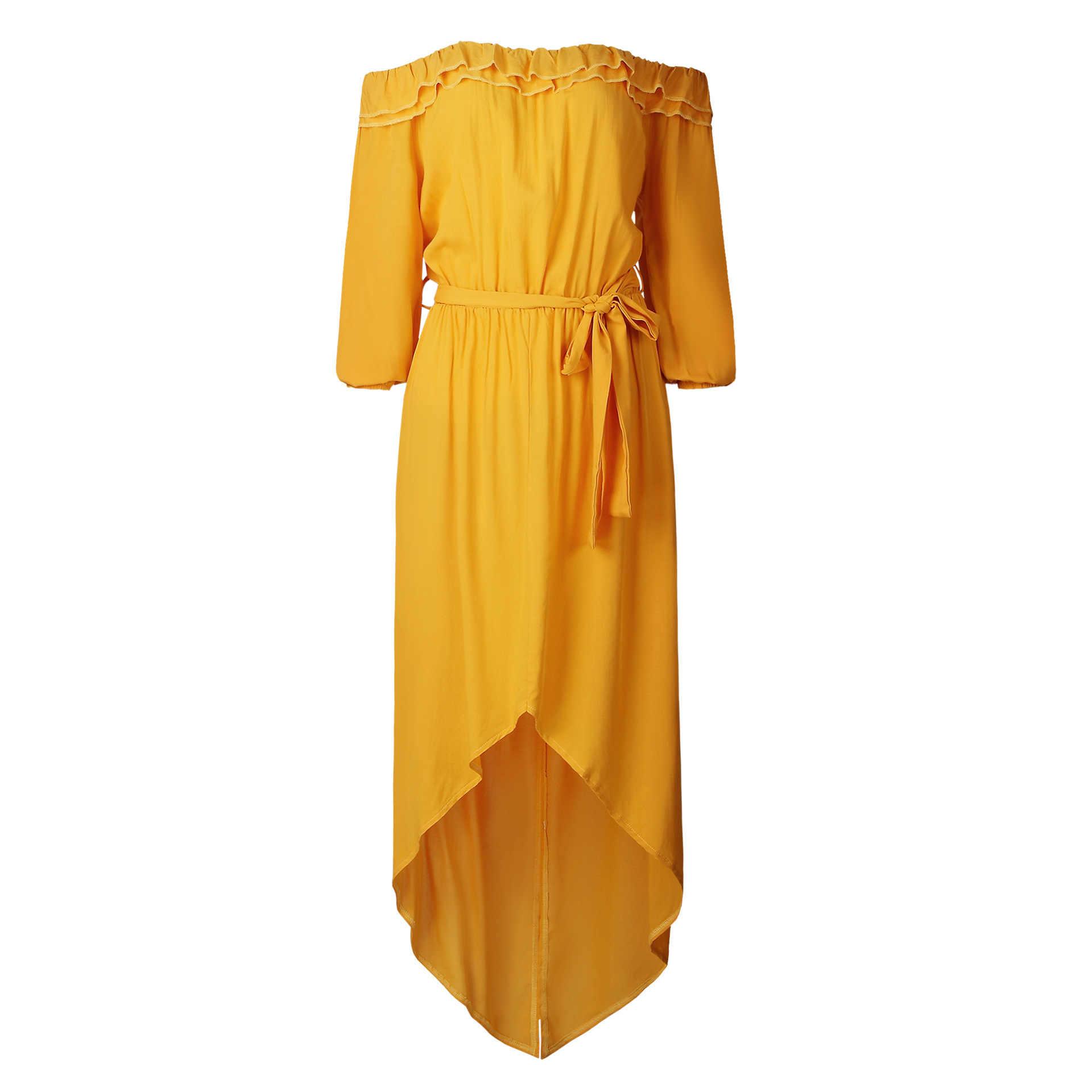 Été vente chaude volantée avant fendu couleur unie Slash cou col femmes robe asymétrique cendres cravate longue robe Maxi robe