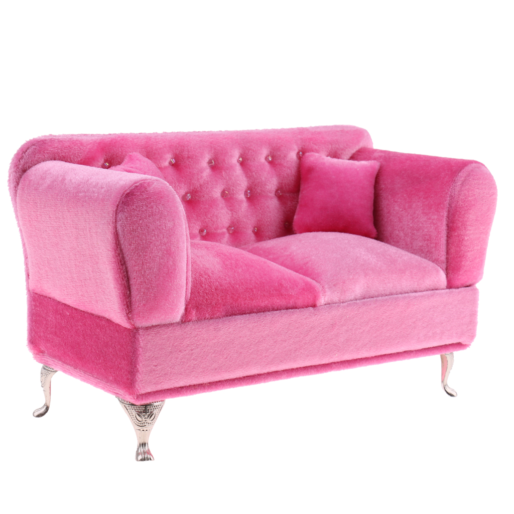 1/6 Scale Pink Double Couch Long Sofa Model For  Doll Or Action Figure Children Pretend Play Toy Fashion Dollhouse Furniture