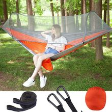 Outdoor Camping Hammock with Mosquito Net 1-2 Person Portable Hanging Bed Quick Open Air Swing Tent Bed Sleeping Bag Hammock(China)