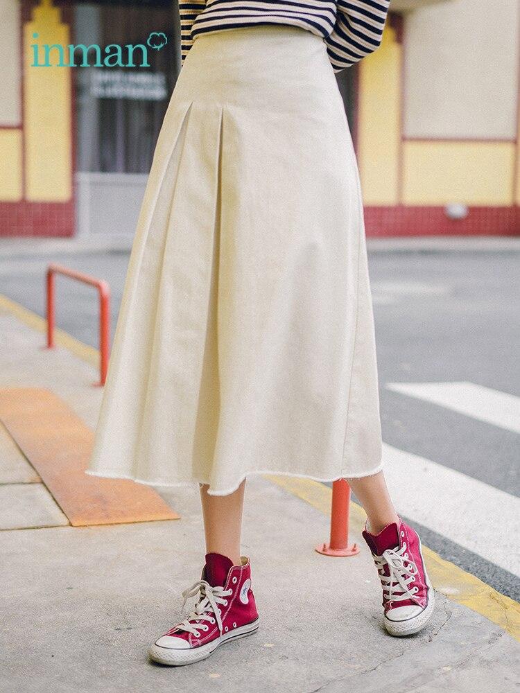 INMAN 2019 verano nueva llegada de algodón sólido minimalismo todo combinado moda literaria elegante falda de las mujeres