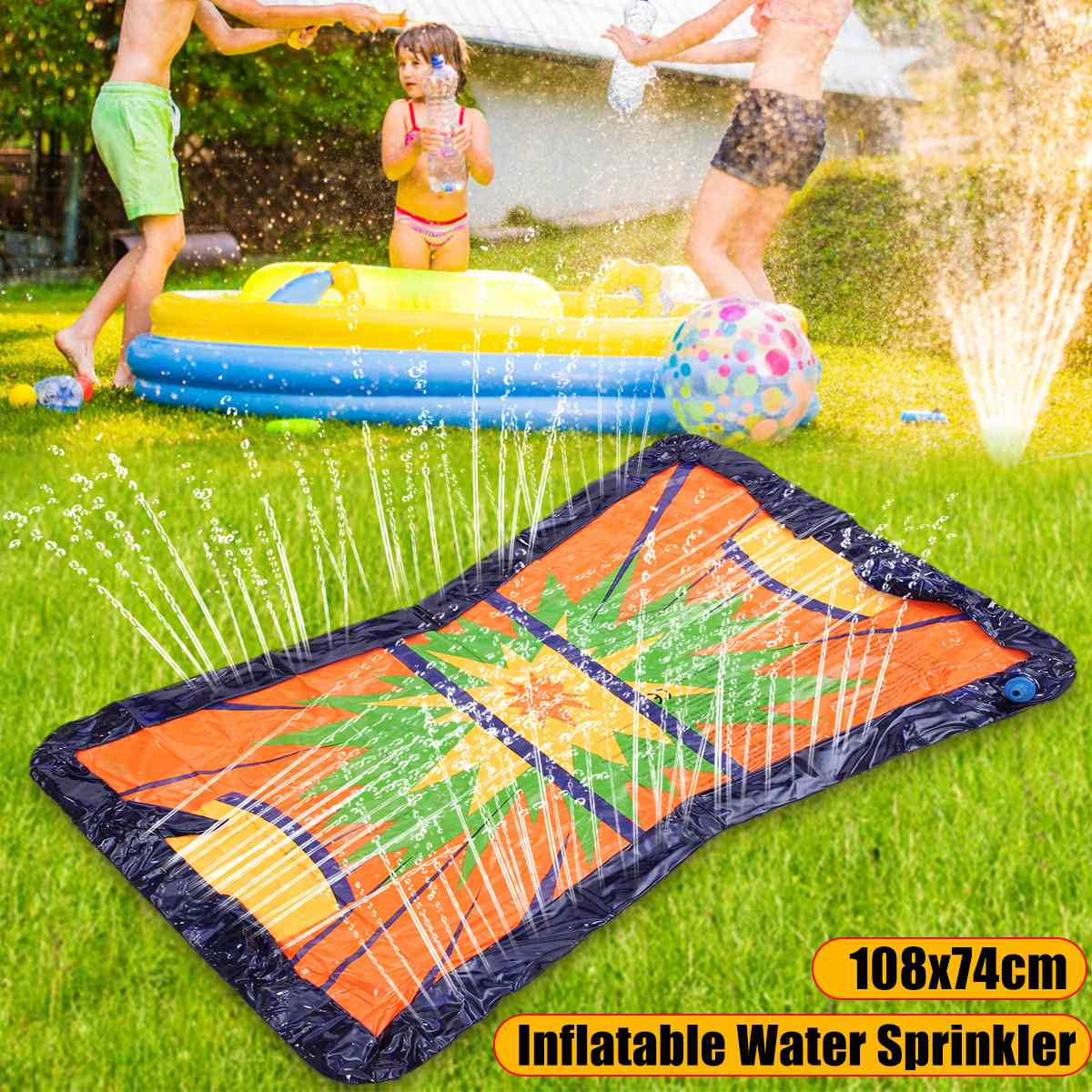 Garden Lawn Water Party Summer Splash Water Sprinkler Kids Toys Inflatable Pool Float Summer Ice Hockey Game Beach Sand Fun Pool