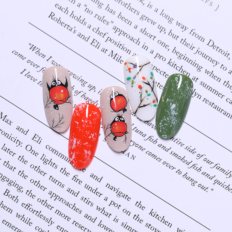 Image 3 - 3D Nail Art Stickers Decals Nail Decorations Adhesive Transfer Sticker Cute Red Fly Birds Nail Art Accessories-in Stickers & Decals from Beauty & Health
