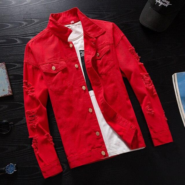 a231965d19414 #7414 printemps 2019 rose rouge noir Hip Hop Denim veste hommes coupe-vent  Streetwear déchiré Jeans veste Homme veste Bomber décontracté