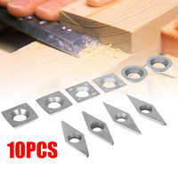 10pcs 5 Sizes Carbide Inserts Woodworking Diamond Square Round Blades CNC Lathe Turning Cutters for Boring Bar