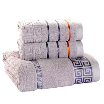 Zestaw ręczników 3 Pack 100 bawełna 70x140cm ręcznik kąpielowy i 2 ręcznik do twarzy Super miękkie chłonne ściereczki frotte dla dorosłych tanie i dobre opinie NFS PLUS Dobby Dzianiny Other approx 600 (g) T-911 Można prać w pralce 5 s-10 s Stałe Przędzy barwionej approx 70x140 (cm)