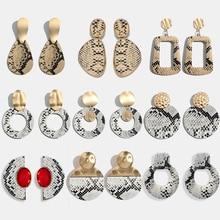 Модные женские серьги-капли с леопардовым принтом, винтажные Круглые Кожаные висячие серьги, рождественские подарки, ювелирные изделия золотого цвета