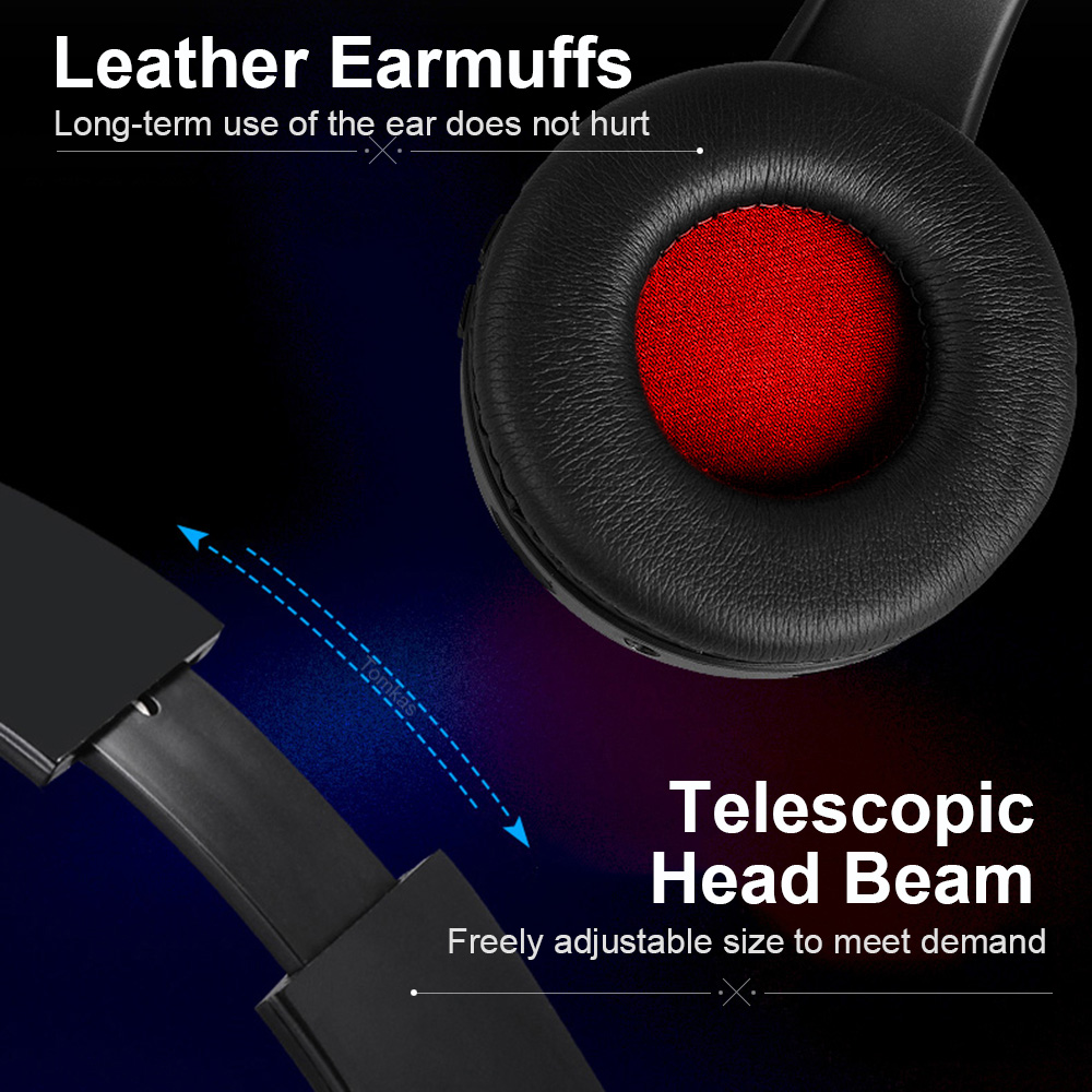 TOMKAS Bluetooth Earphone Headphone Wireless Stereo Earphones Foldable Headsets Adjustable Earbuds With Mic/TF Card For Computer