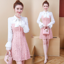 new 2019 spring women Korean fashion lace stitching patchwork two-piece vestido lady outfit dress bow dresses S-XXL