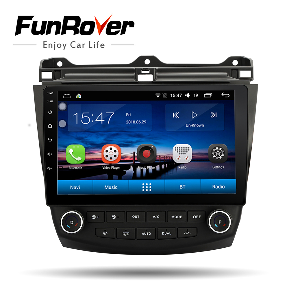 FUNROVER Android 8.0 car dvd stereo 10.1 inch Audio Radio player for Honda Accord 7 2003-2007 car Navigation GPS head unit WIFI
