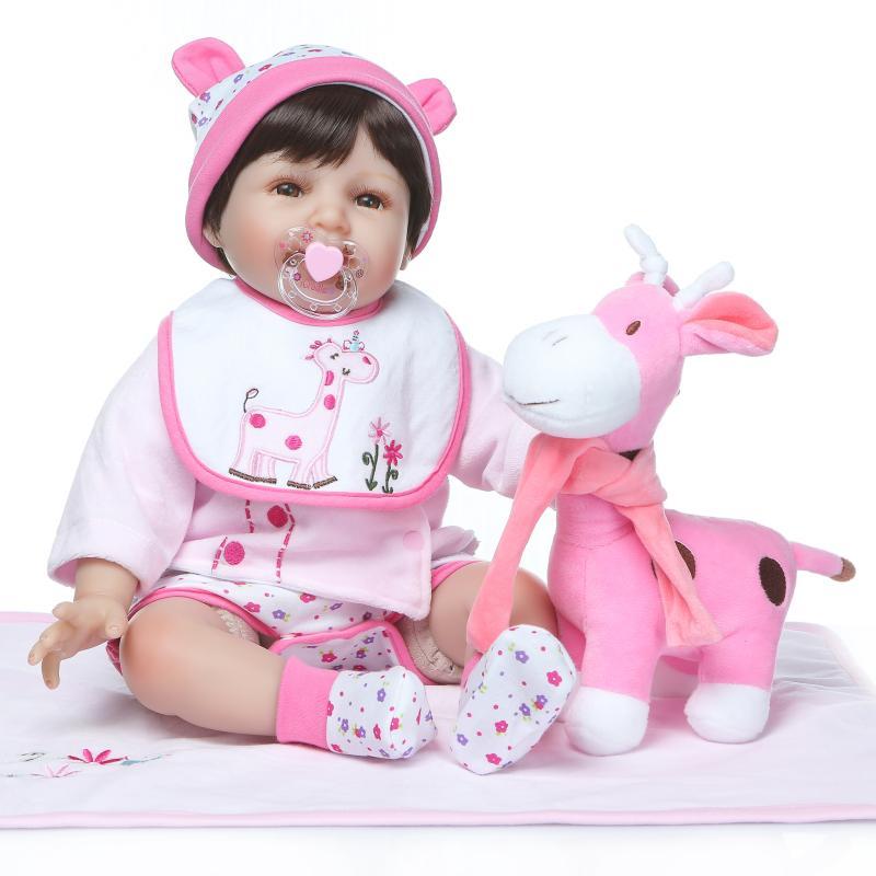 Poupée 22 ''fait à la main bébé réaliste poupées + vêtements beaux bébés nouveau-né vinyle Silicone Reborn fille cadeau enfant en bas âge