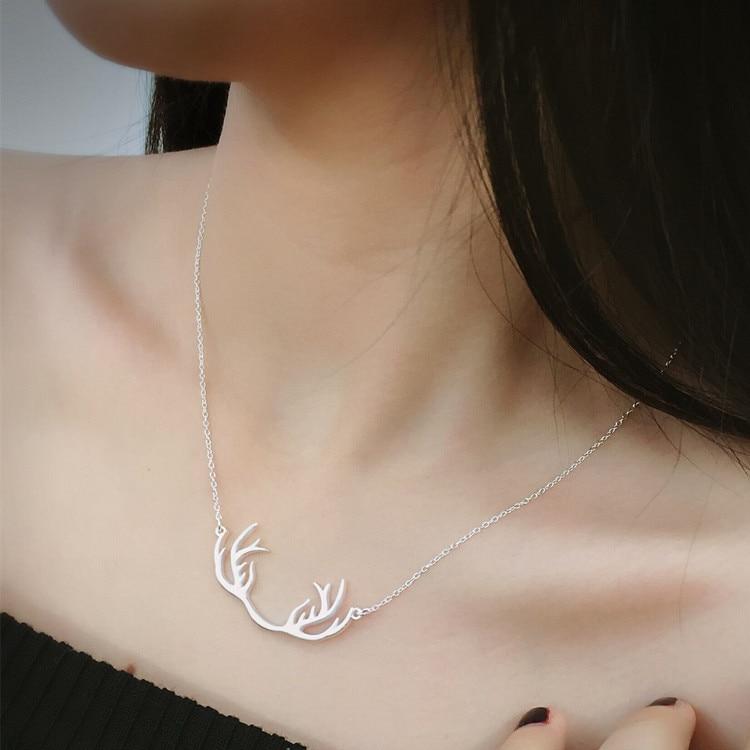 925 пробы серебряные прекрасные олени ожерелья и подвески для женщин Мода леди фестиваль подарок Стерлинговое Серебро-ювелирные изделия
