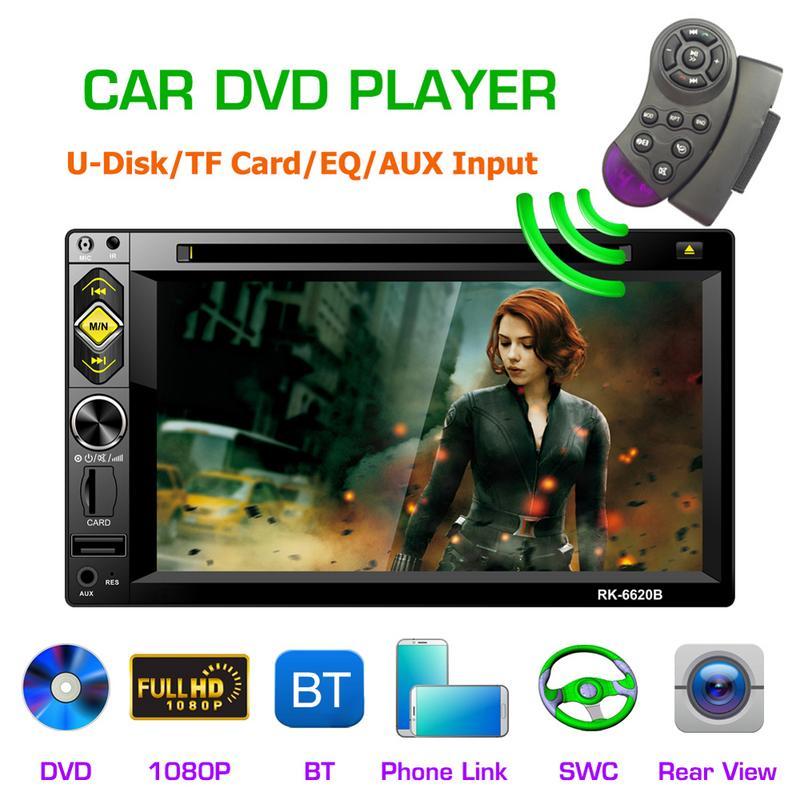 Nouveau lecteur CD DVD HD1080P 6.2 pouces 2DIN multimédia commande au volant Radio FM BT appels mains libres USB AUX lien miroir