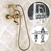 Antique Phone Shape Bathroom Bath Tub Shower Set Solid Brass Water Faucet Shower Head Hand Sprayer 1.5m Hose Bath Mixer Tap Kits