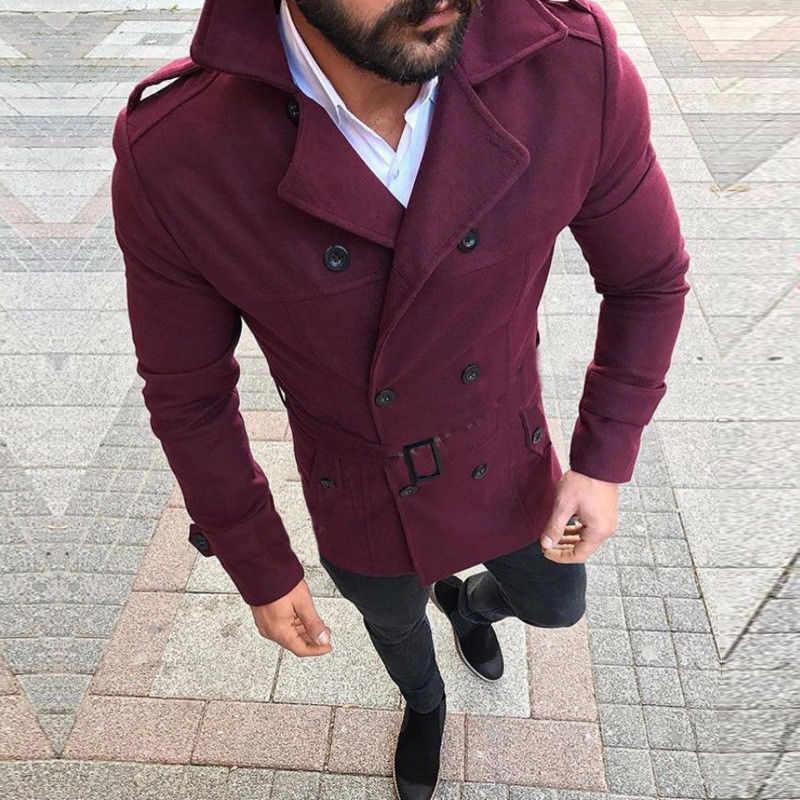 Мужской зимний шерстяной Теплый Тренч, парка, куртка-холодильник, двойная куртка в грудной горошек, пальто, мужские куртки