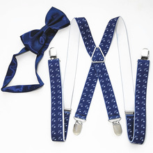 Anchor Print  supenders and bowtie sets men women X-back suspender bow tie set for Adult Wedding LB020