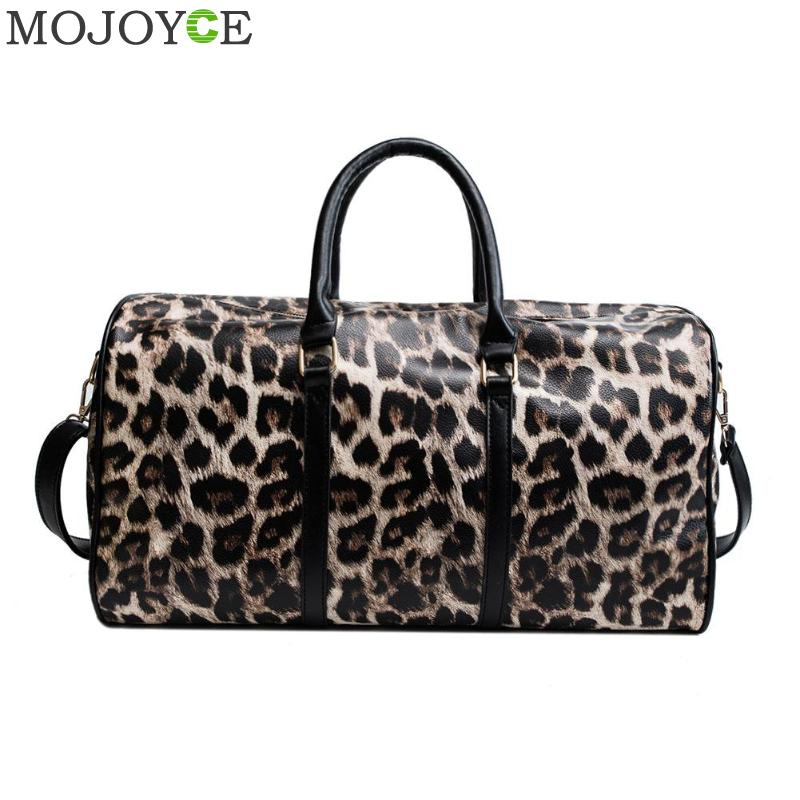 Fashion Women Sling Shoulder Handbag Large Capacity Leopard Crossbody Travel Bags PU Leather Weekend Duffel Messenger Bag